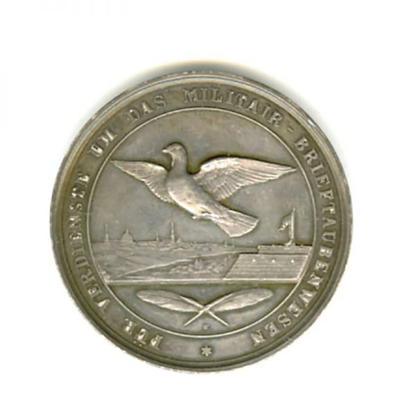 Military Merit in Wartime Homing Pigeon Training Wilhelm silver medal  41mm large... 2