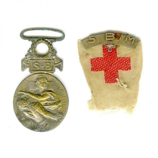 Society for Aid to Military wounded medal 1864-66 silvered bronze  with embroidered... 1