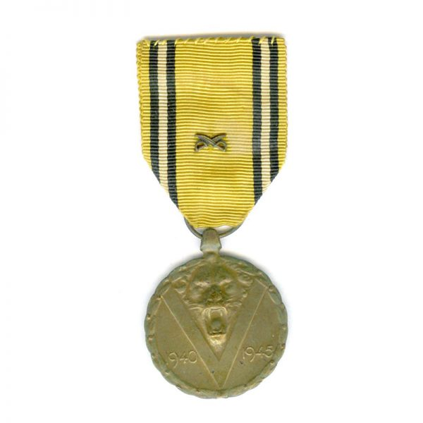 War Medal 1939-1945 with small crossed swords on ribbon	