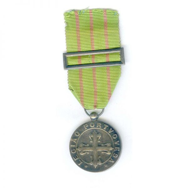 Portuguese Legion Medal for Dedication silver with silver ribbon buckle 1