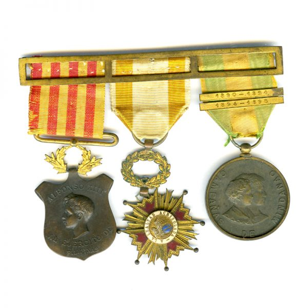 Group of 3: Philippine Campaign medal 1896-1898 1