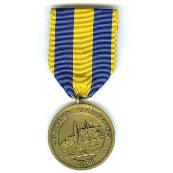 Spanish War Service medal Navy early unnumbered striking with sewn broach(L22784... 1