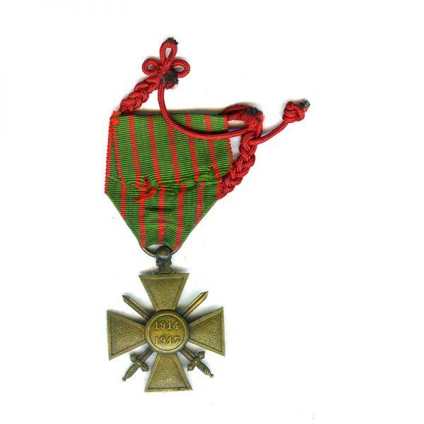 Croix de Guerre 1914-17 with Fourragère (braid) for distinction on ribbon 2