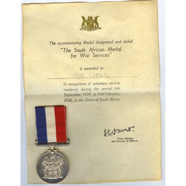 Home Service Medal 1939-45 silver  with original certificate of issue John Lawson 1