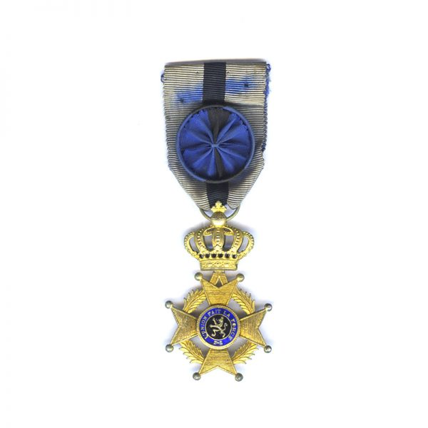 Order of Leopold II 2nd  type Officer  badge in gilt French 1