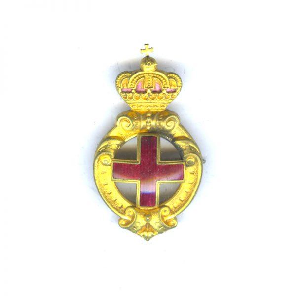 Red Cross Merit Badge 1st type open cross gilt and enamel 1