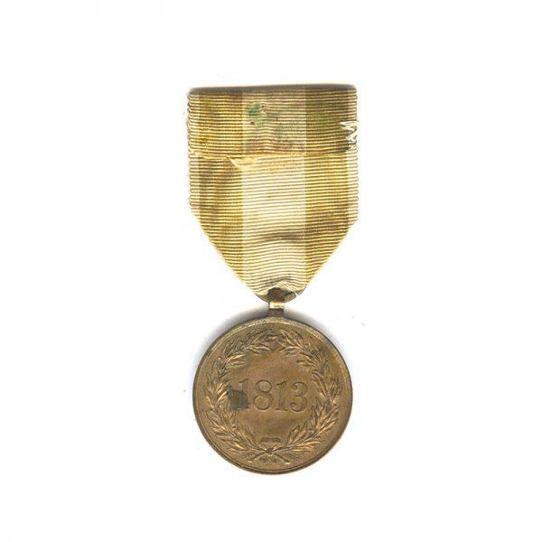 Volunteers War medal for Waterloo 1813 Campaigns (issued 1841) bronze 2
