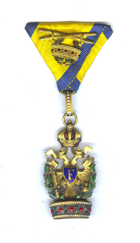 Order of the Iron Crown 3rd class badge with war decoration in... 1