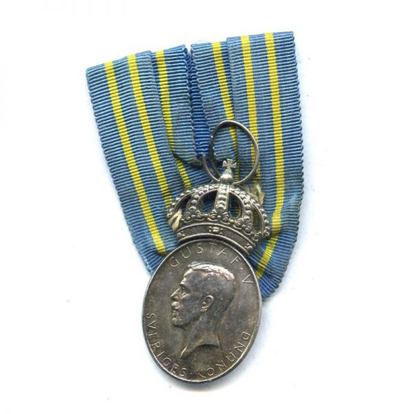 Gustav V  Swedish militia merit medal silver (L12220)  N.E.F. £45 1