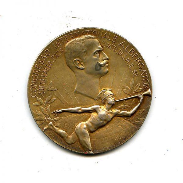 International Congress large silver gilt table medal Vitt.Emm.  November 1908 1