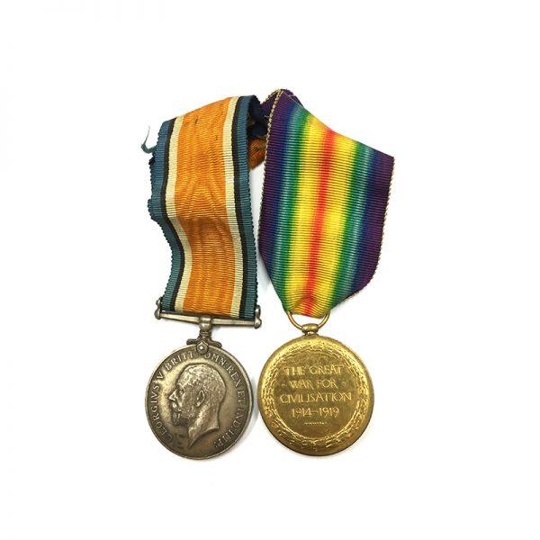 WW1 Pair Lieut 26th Northld Fus KIA 1