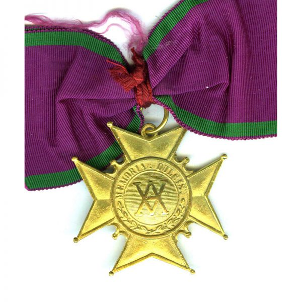 Order of Amaranth neck  badge in gilt on old silk full neck... 1