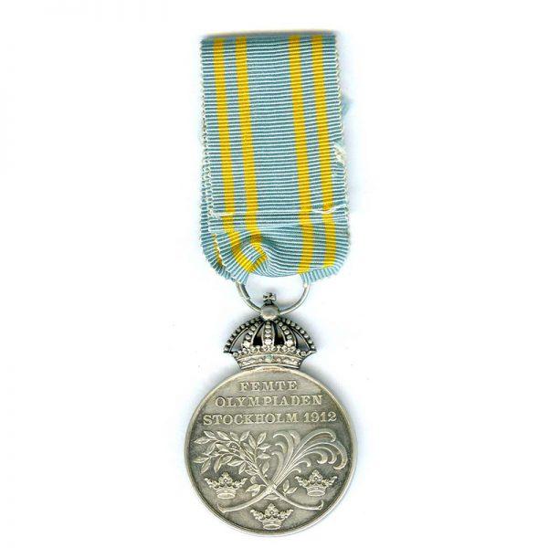 Gustav V Olympic Medal 1912 silver scarce 2