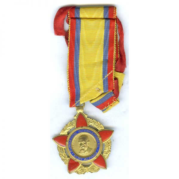 Order of the International Foundation of Eloy Alfaro military Commander neck badge 1