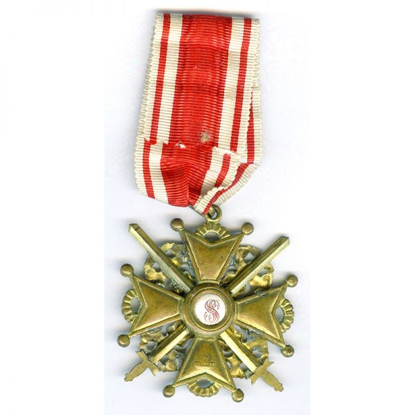 Order of St. Stanislaus  2nd class Neck  Badge with swords wartime issue... 2