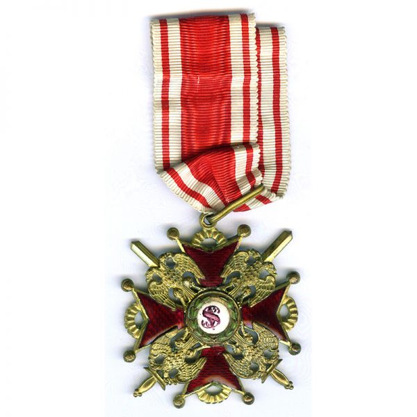 Order of St. Stanislaus  2nd class Neck  Badge with swords wartime issue... 1