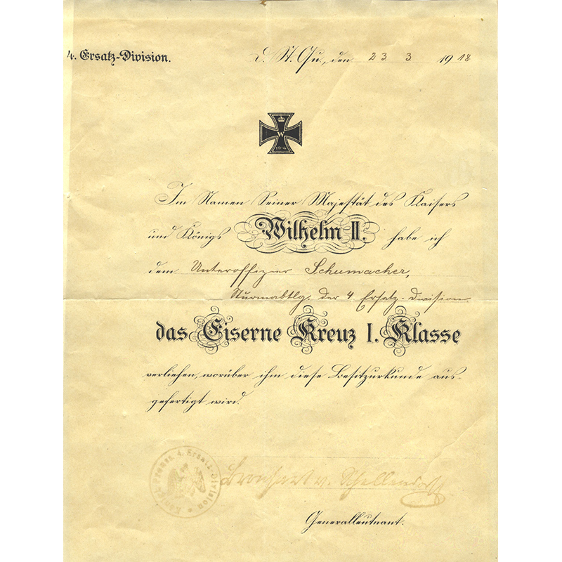 Iron Cross 1914 1st class with original large certificate to Underofficer Schumacher... 3
