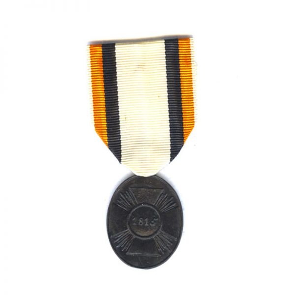 1815 Waterloo War medal Waterloo non-combattant in blackend Iron with replacement... 1