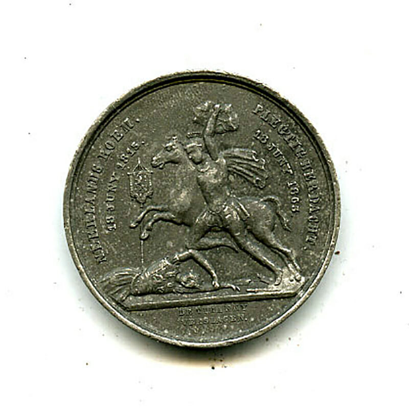Waterloo Victory Jubliee medal 1865 non wearable  white metal 1