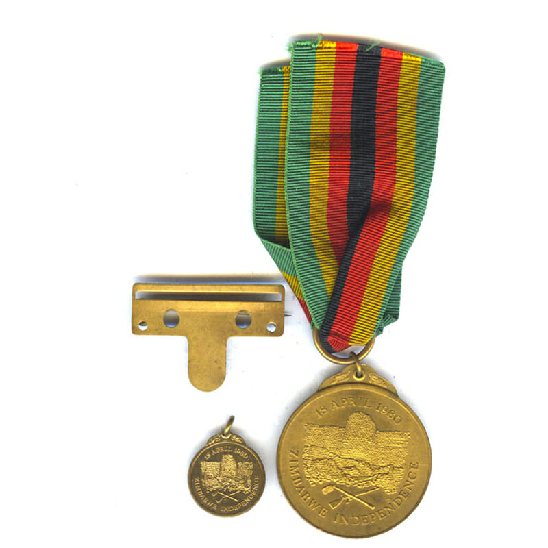 Independence Medal 1980 officialy numbered with original broach pin bar and miniature 2