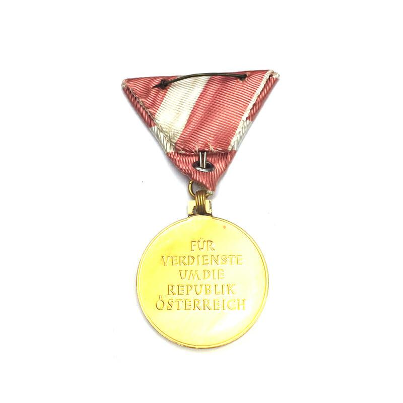Republic Order of Merit  Merit medal golden in fitted embossed case of... 2