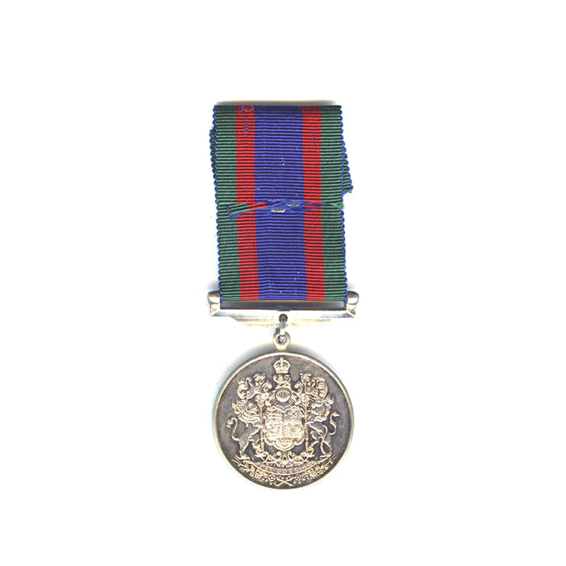 1939-45 Volunteers medal silver with silver maple leaf on ribbon(L28232)  N.E.F... 2
