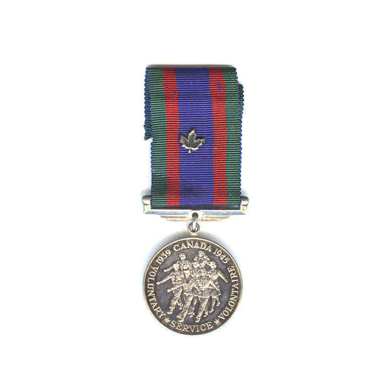 1939-45 Volunteers medal silver with silver maple leaf on ribbon(L28232)  N.E.F... 1