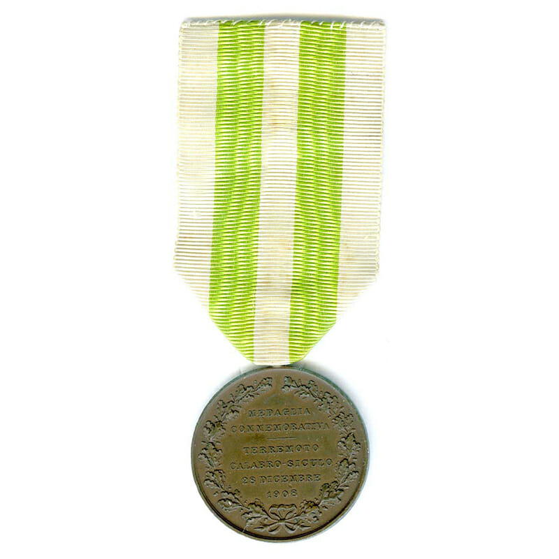 Messina Earthquake Commemorative medal 1908  bronze 2