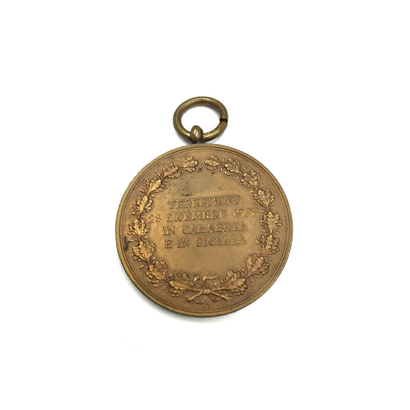 Messina Earthquake Medal of Merit 1908 large bronze 35mm 2