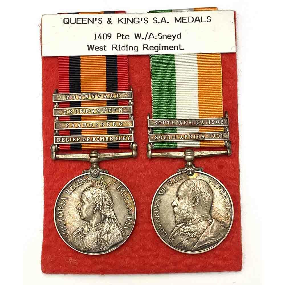 QSA KSA Boer War Pair West Riding Regiment 1