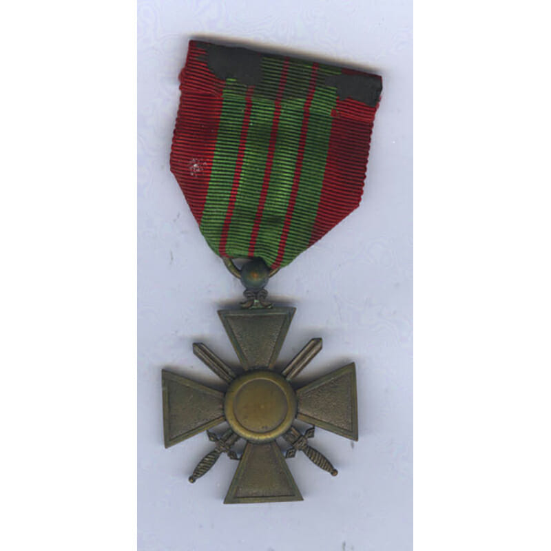 Croix de Guerre 1939 6th type with blank reverse and unique effigy 2