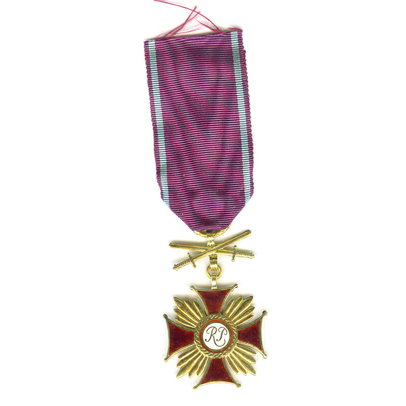 Cross of Merit R.P. gold  ( gilt) with swords  by Spink (L22179)  N.E.F... 1