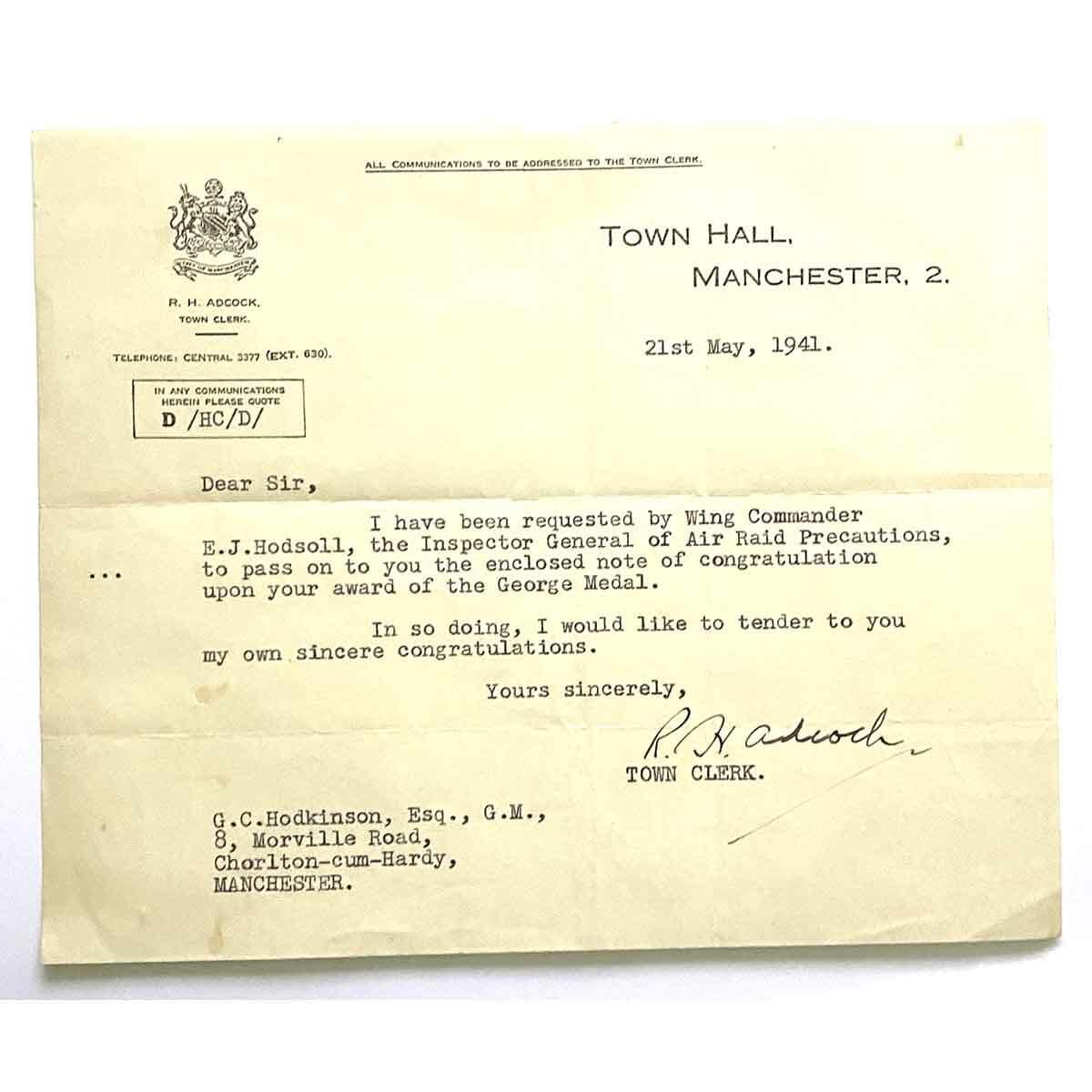 George Medal, Manchester Blitz 5