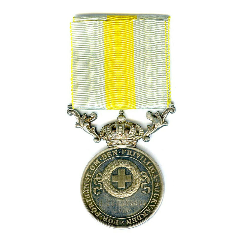 Gustav V Royal  Red Cross Merit  medal for Volunteers impresssed to H.Johannson... 2