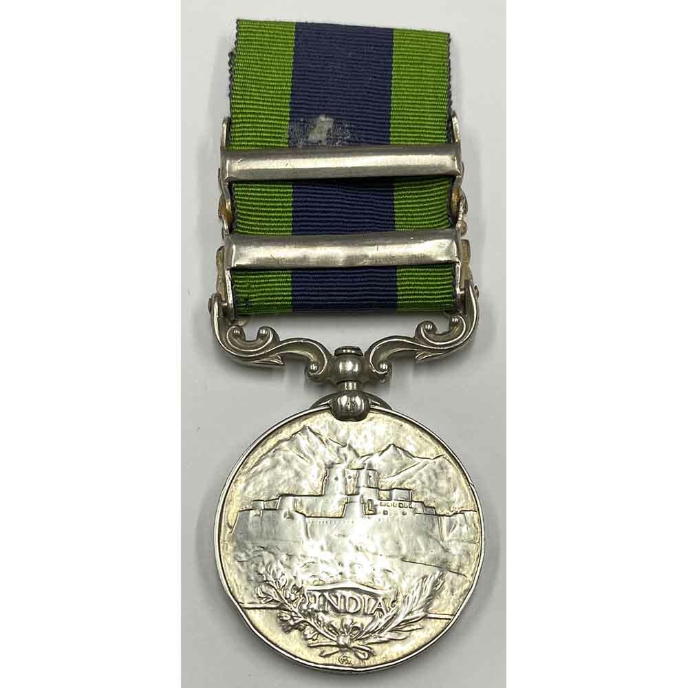 India General Service Medal 1908 2 bars  Waziristan R.W.Fus 2