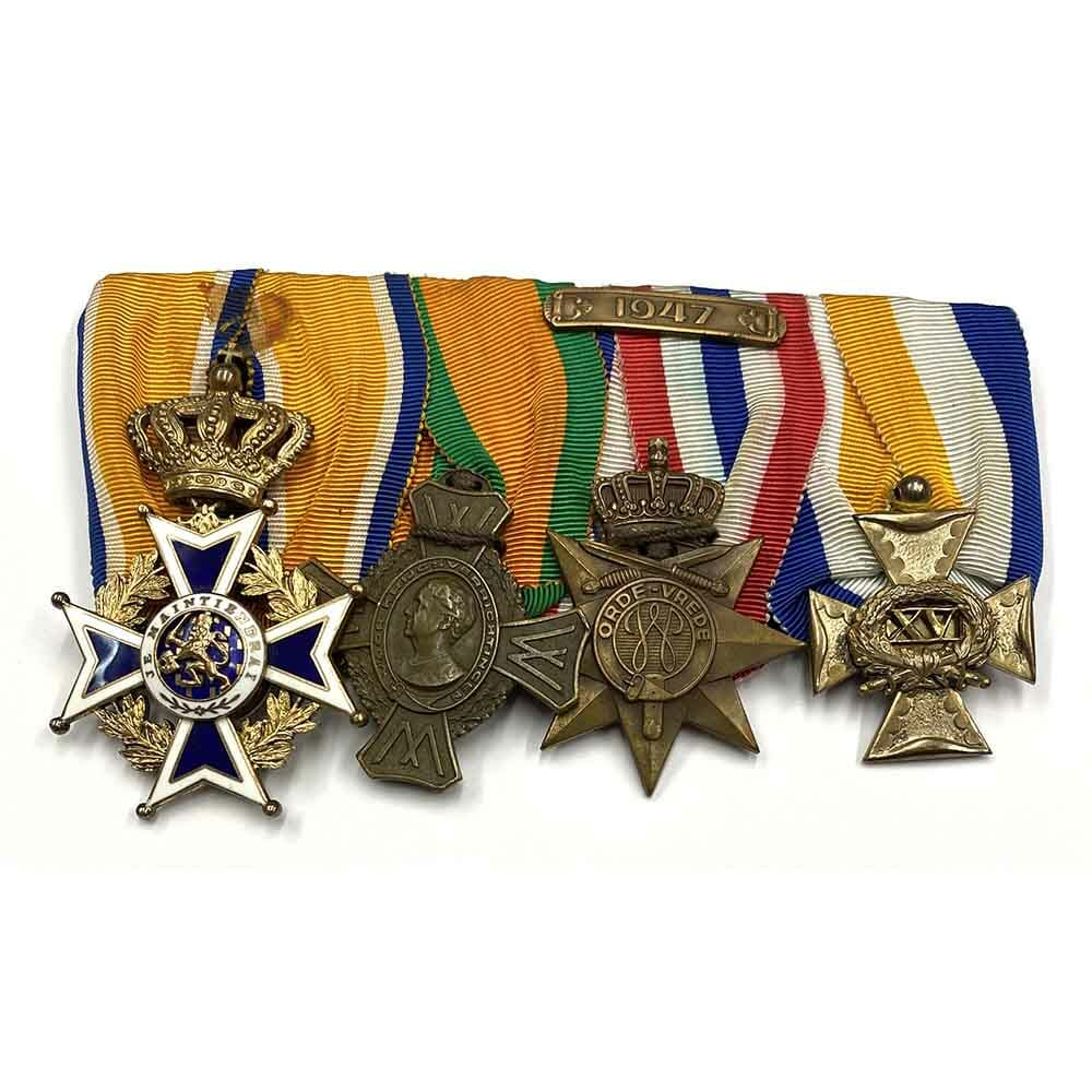 Group of 4, officers court mounted as worn 1