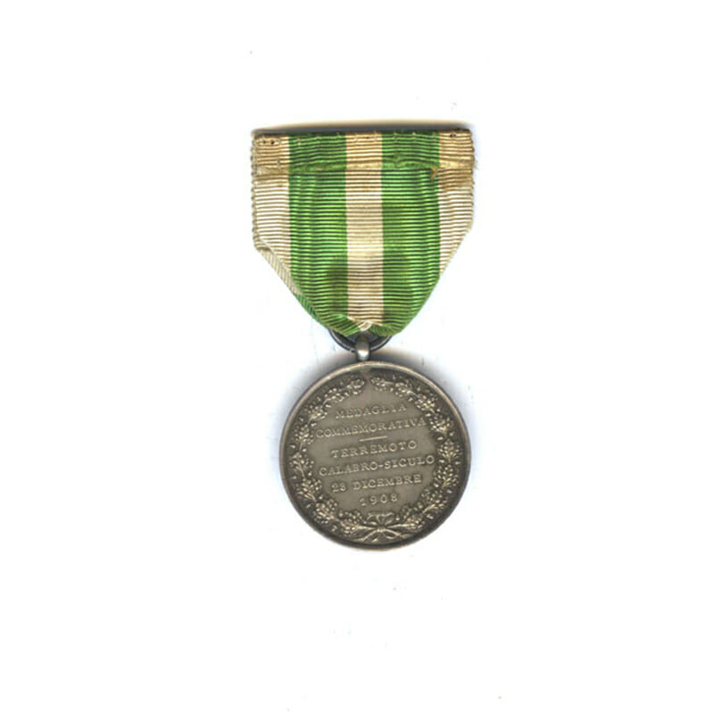 Messina Earthquake Commemorative medal 1908 silver in fitted embossed case of issue... 2