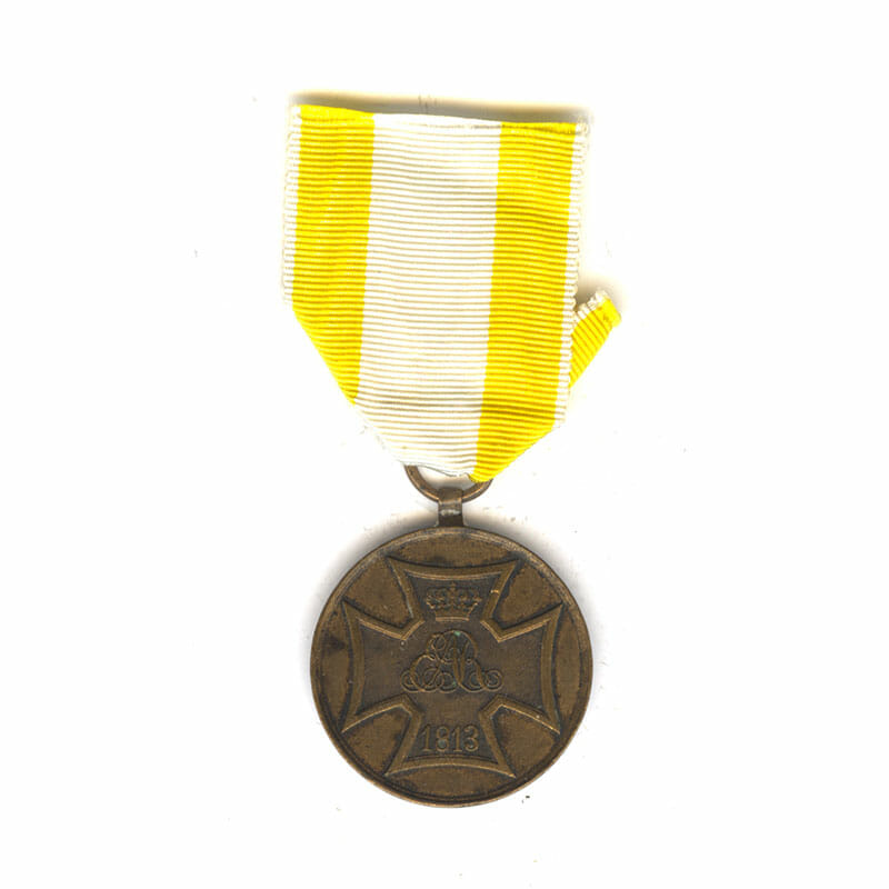 Volunteers War medal for Waterloo 1813 Campaigns (issued 1841) bronze (L27828)  V.F... 1