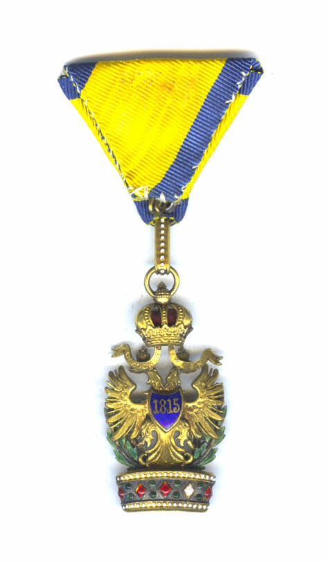 Order of the Iron Crown 3rd class badge with war decoration in... 2