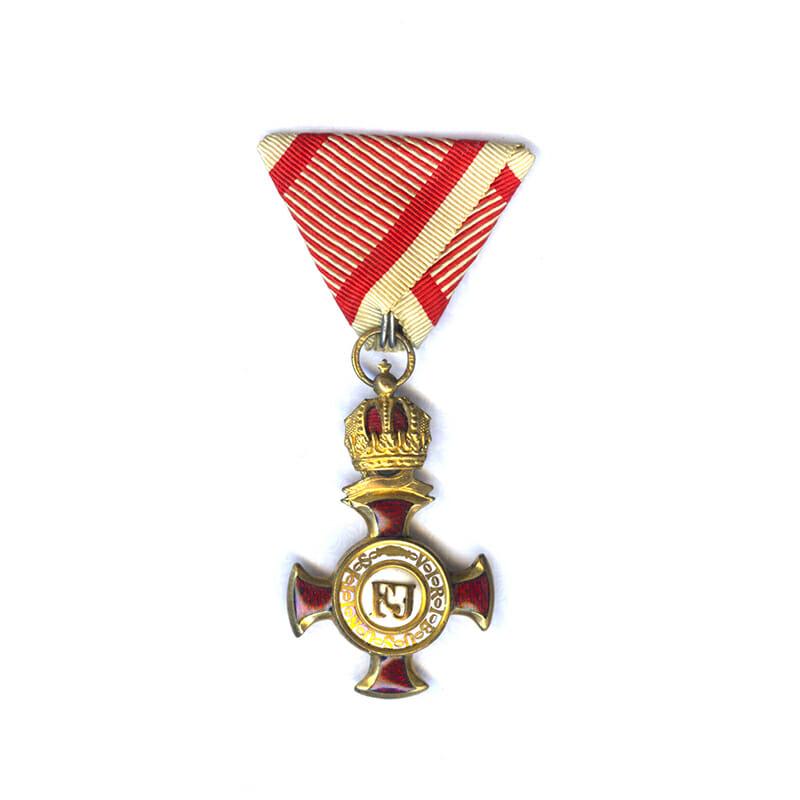 Golden Merit Cross 1849 large  type bronze gilt with crown 1