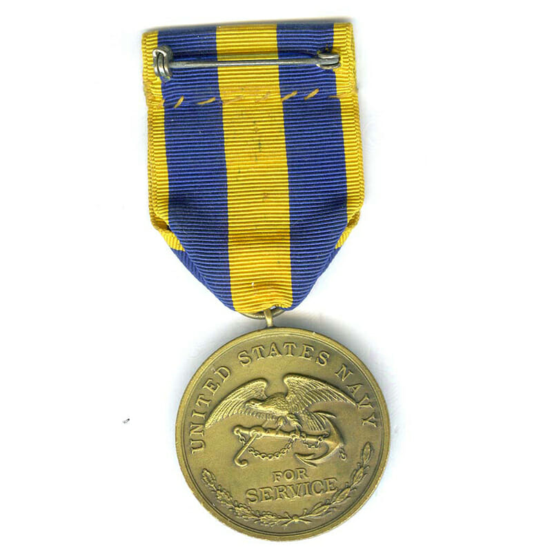 Spanish War Service medal Navy early unnumbered striking with sewn broach	(L22784... 2