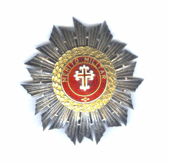 Order of Military Merit Grand Cross breast star in hallmarked silver 1