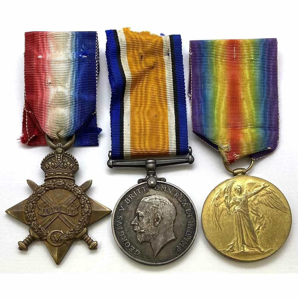 1914-15 Star Trio Finsbury Rifles KIA Gallipoli 1