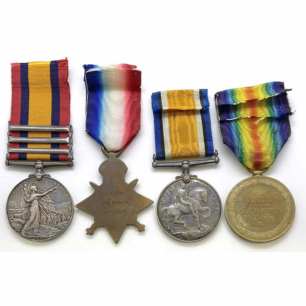 QSA 1914 Star Trio Wounded Middlesex Regt 2