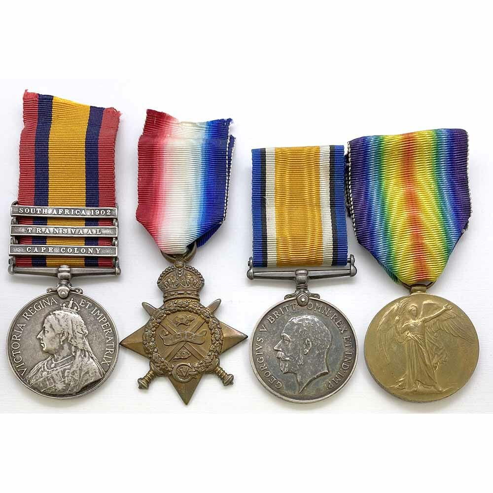 QSA 1914 Star Trio Wounded Middlesex Regt 1