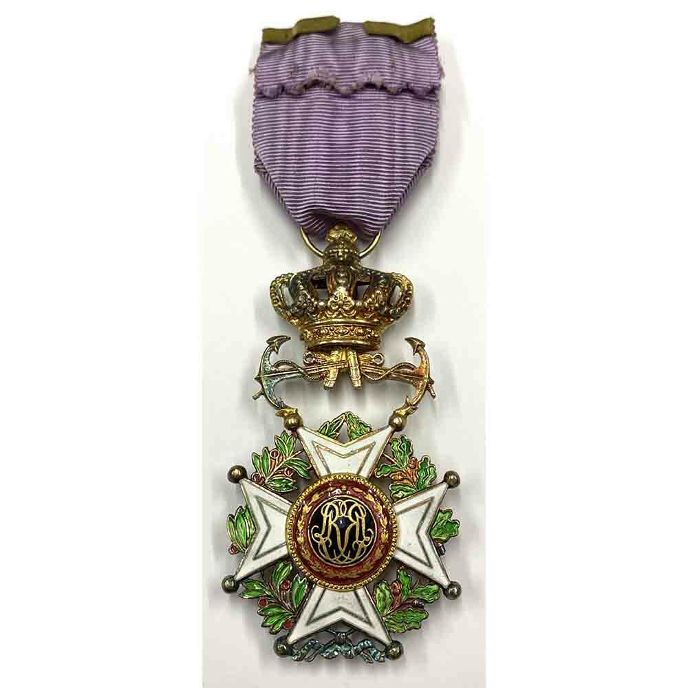 Order of Leopold French/Flemish Officer Naval with  Anchors 2